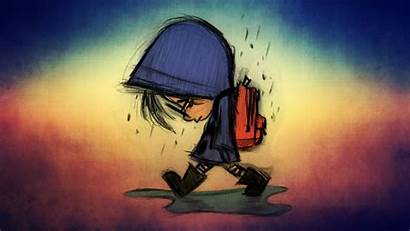 Sad Cartoon Rain Children Wallpapers