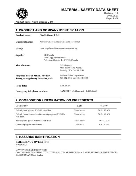 L Msds by Msds L 540