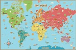 Free Printable World Map For Kids Maps And | World map ...