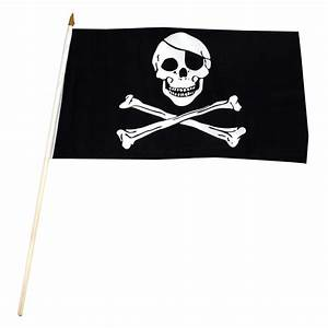 Pirate - Jolly Roger - Flag 12in x 18in Stick Flag