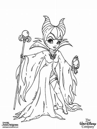 Coloring Deviantart Lineart Maleficient Disney Jadedragonne Pages