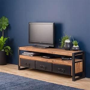 Meuble Tv Industrielle : meuble tv industriel 3 tiroirs bois fonc made in meubles ~ Nature-et-papiers.com Idées de Décoration
