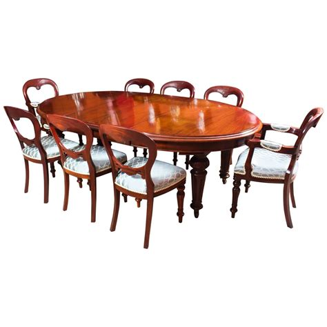 antique oval dining table 8 chairs c 1860