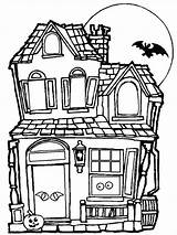 Coloring Haunted Template Tree Templates Colouring sketch template
