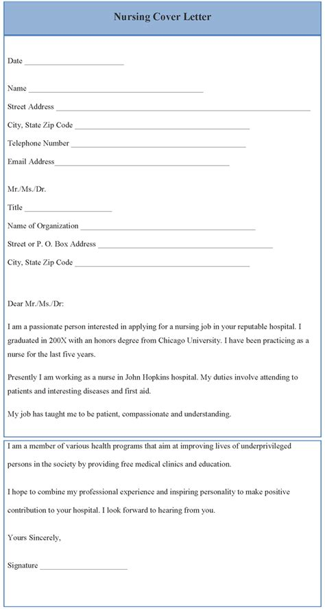 nursing resume cover letter template free cover letter template for nursing format of nursing cover letter template sle templates