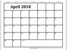 New April 2018 printable calendar download Download Free