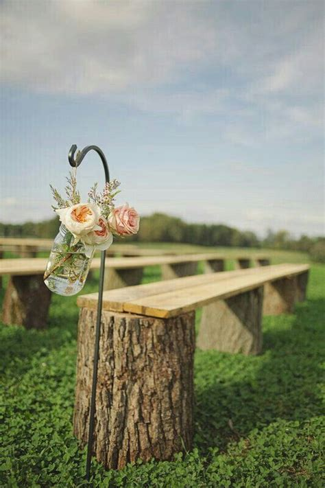 ceremony seating ceremony outdoors logs wood planks