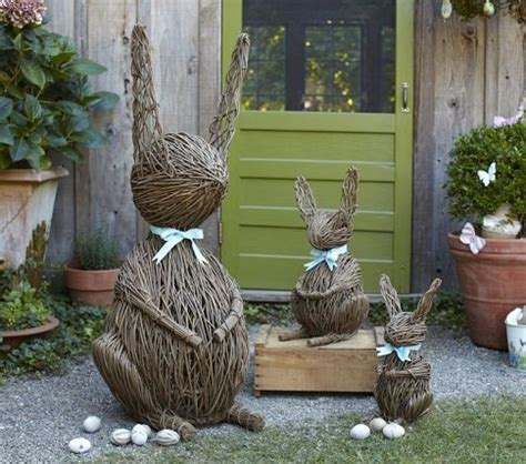 outdoor decorations vine bunnies contemporary outdoor decorations