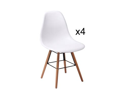 lot 4 chaises blanches deco in lot de 4 chaises design blanche x4 blanc