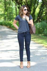 Life u0026 messy hair blogger sunglasses ripped jeans casual grey t-shirt - Wheretoget