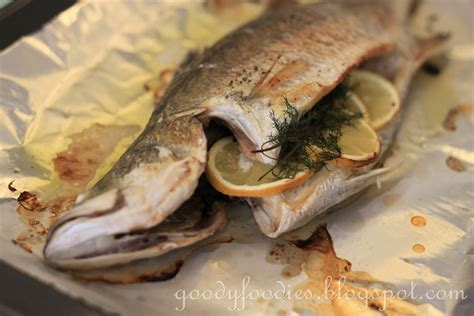 baking fish goodyfoodies recipe oven baked whole fish barramundi with lemon and dill