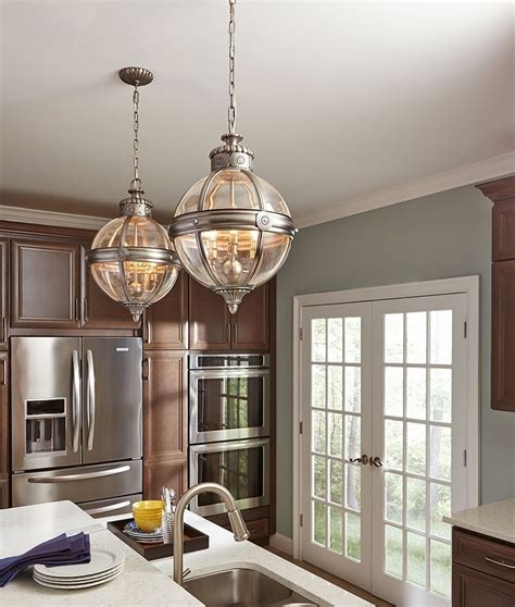 diy kitchen lighting vintage orb style antique nickel and glass chandelier 3405