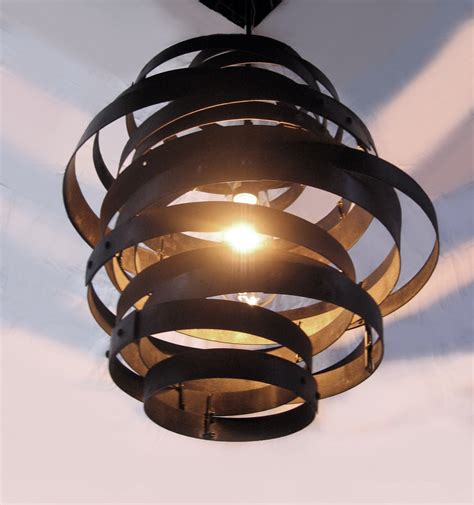 vortex recycled steel wine barrel hoops light fixture