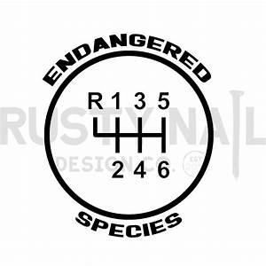 6-speed Endangered Species Gear Shift Decal