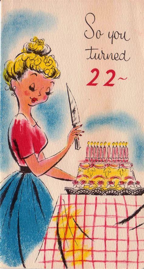 turned  birthday card illustrations