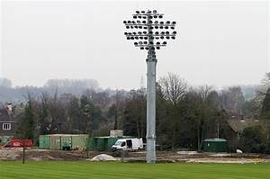 The first floodlight is up kent county cricket club