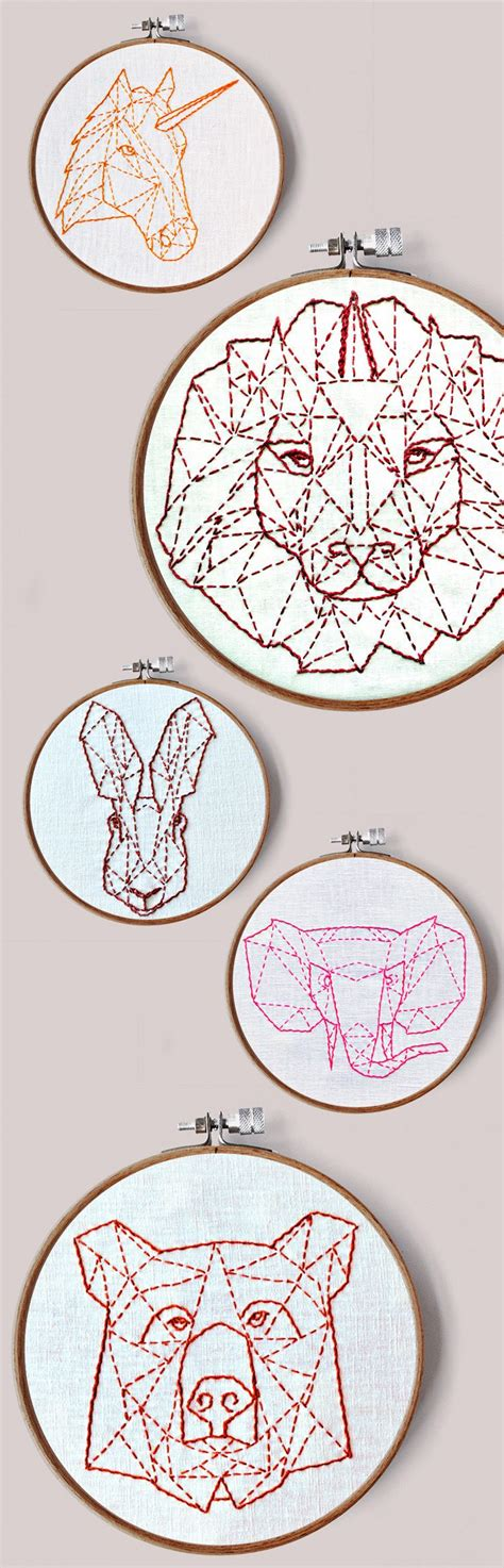 modern hand embroidery patterns geometric animals