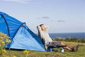 Man, Relaxing, Outside, Of, Tent