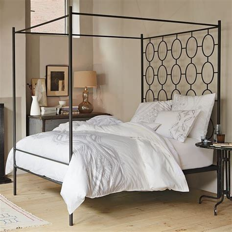 White Wrought Iron King Size Headboards by Ellipse Metal Canopy Bed Modern Canopy Beds By West Elm