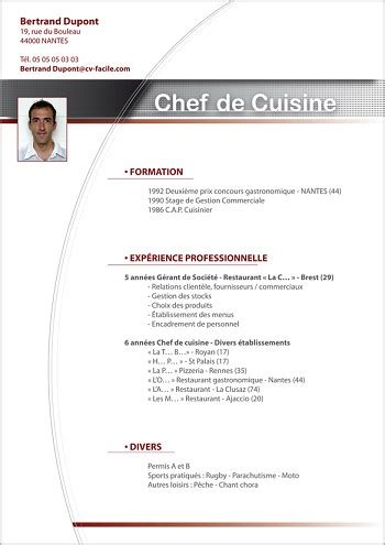 commis de cuisine de collectivité modele de cv cuisinier