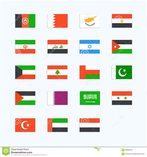 middle eastern country flags stock vector 56505372