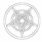 Pentagram Wiccan Coloring Template sketch template