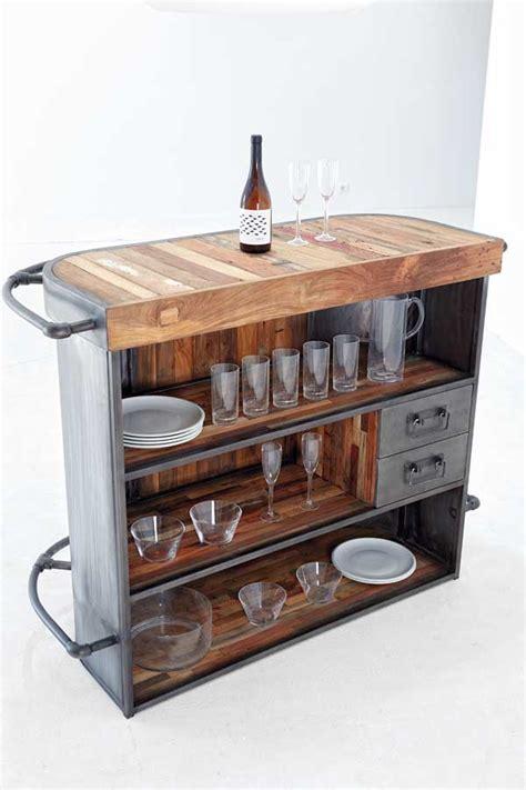 meuble bar en teck et métal manhattan 6193