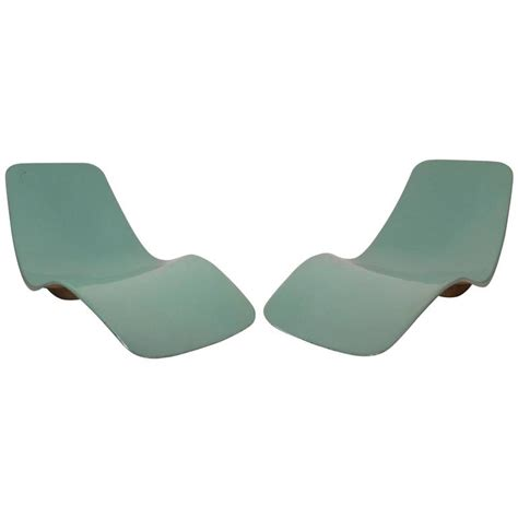 mid century modern fiberglass pool chaise lounges by