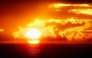Sunset sun sky clouds sea ocean romantic emotions ...