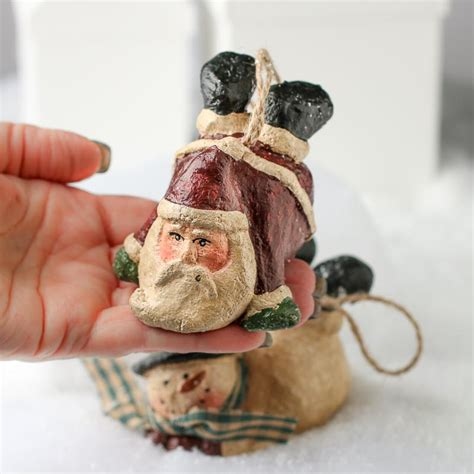 paper clay ornaments primitive paper clay flying santa and snowman ornament set ornaments and