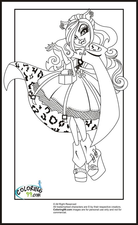 High Coloring Pages Team Colors High Clawdeen Wolf Coloring Pages Team Colors