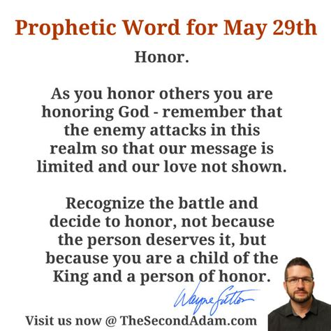 May 29 Daily Prophetic Word Of God  The Second Adam