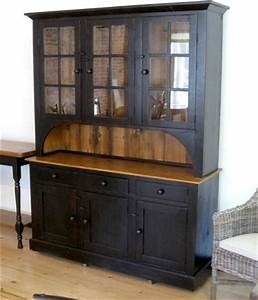 6 Door 3 Drawer Black Hutch Farmhouse China Cabinets