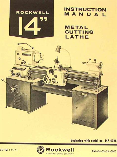 rockwell  cabinet metal lathe operating parts manual
