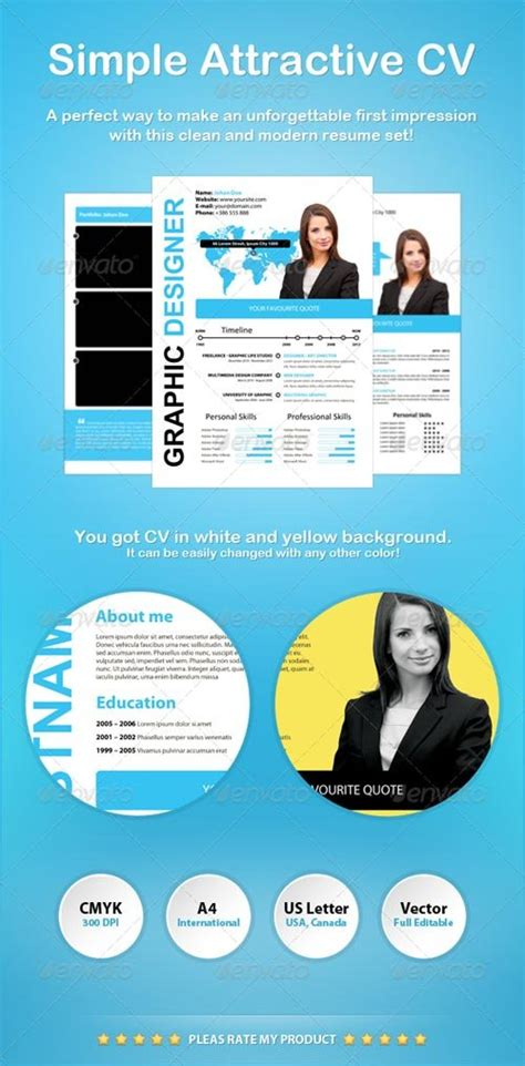 simple and attractive resume stationery design graphicriver simple attractive cv graphicflux