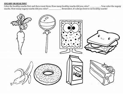 Worksheets Healthy Coloring Snack Well