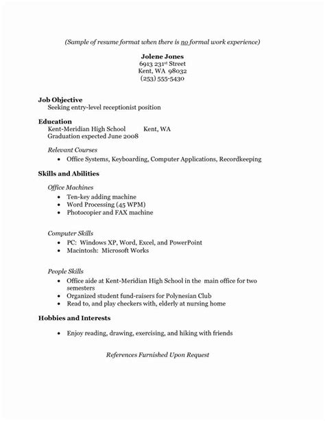 Sle Resume Without Work Experience by No Experience 3 Resume Format Resume No Experience