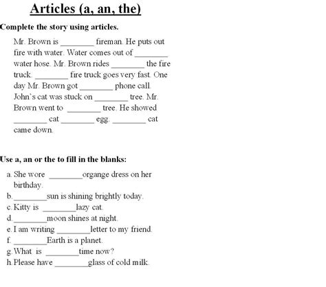 grammar worksheets for grade 4 articles