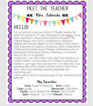 free meet the teacher editable meet the letter by zabinski tpt