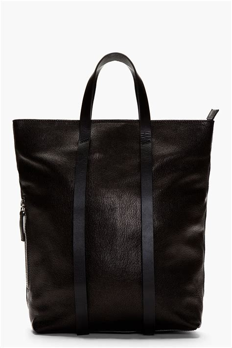 costume national black grained leather convertible backpack tote  men lyst