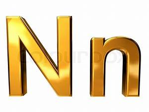 gold letter n upper case and lower case isolated on white With upper n lower case letters