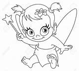 Fairy Coloring Pages Newborn Outlined Vector Clipart Illustration Printable Clip Birth Adult Depositphotos Popular sketch template