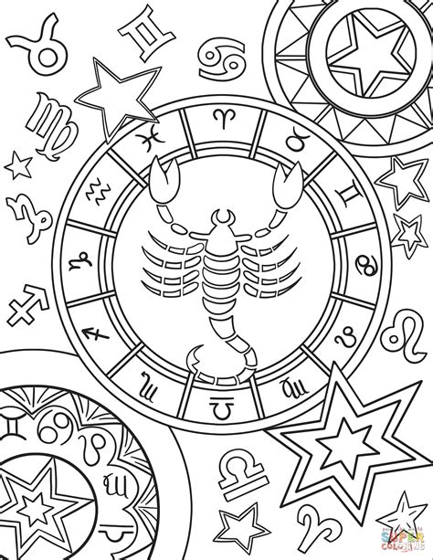 scorpius zodiac sign coloring page  printable
