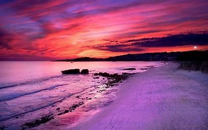 Sunset Purple Pink Beach Sand Wallpapers Desktop