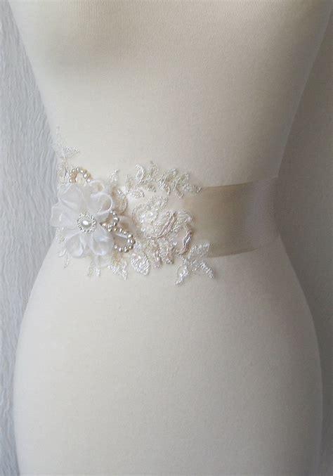 pale chagne bridal sash wedding gown sash bridal belt