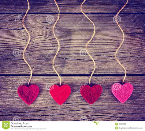 felt fabric love valentines hearts hanging  rustic