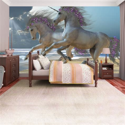 unicorn beach wallpaper wall mural