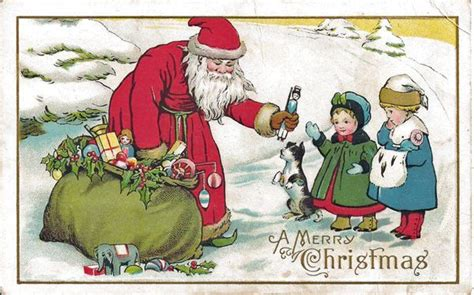 santa postcard giving toys   girls  antique