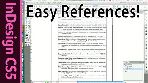 indesign easy reference list  citation  scientific
