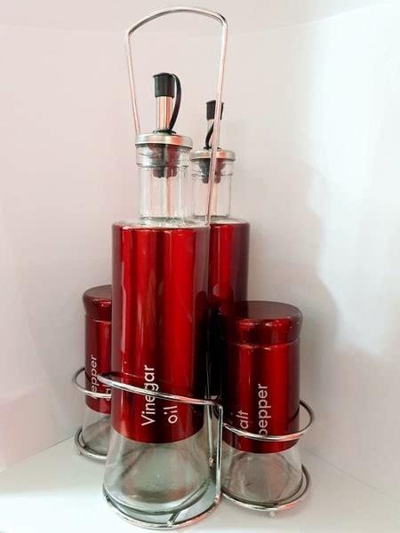 cruet set oil vinegar salt pepper red  piece global houseware